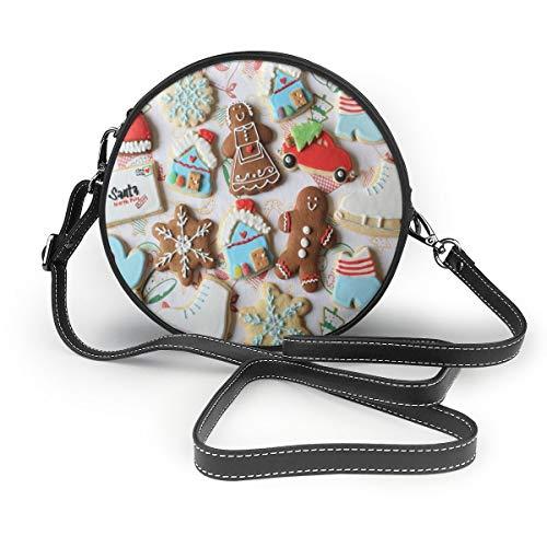 Wrution Damen Handtasche mit weihnachtlichen Keksen, Schneeflocken, rund, mit Reißverschluss, weiches Leder