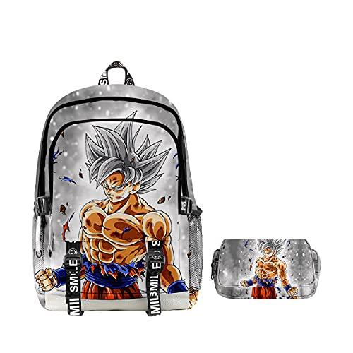Mochila Dragon Ball, Grande Capacidad 3D Goku Anime Cosplay Mochila Infantiles +Estuche Mochila Dragon Ball Escolar para Niño Niña Adulto Estudiante Bolso de Escuela Laptop Backpack (8)