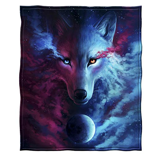 Dawhud Direct Fleece Throw Blanket (Celestial Wolf)