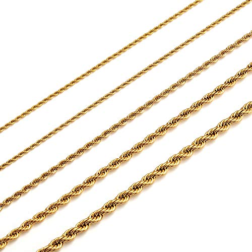 MEMGIFT 18K Real Gold Plated Rope Choker Chain Necklaces for Women Men Boys Teen Girls 2MM 2.5MM 3MM 4MM 5MM 16-28 Inches Chain Simple Fashion Trendy Jewelry Gifts for Mom Dad Sister Son Daughte gold