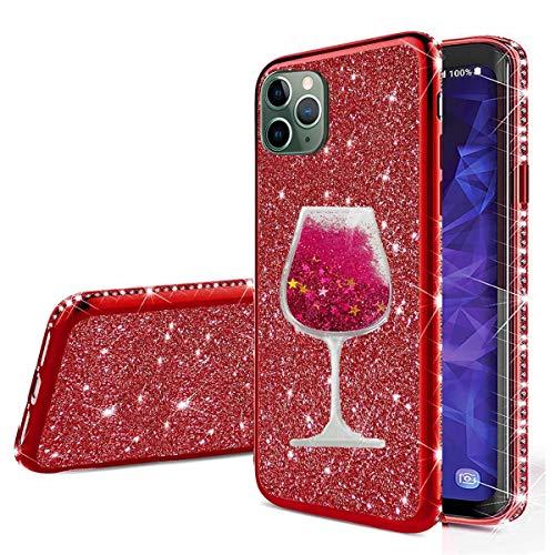 """Nadoli für iPhone 12 Pro Max 6.7"""" Glitzer Hülle,Kristall Diamant Strass Bumper mit 3D Fließend Flüssig Treibsand Weinglas Silikon Handyhülle Frauen für iPhone 12 Pro Max 6.7"""""""