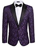 Coofandy Men's Floral Party Dress Suit Stylish Dinner Jacket Wedding Blazer One Button Tuxdeo Purple US XL