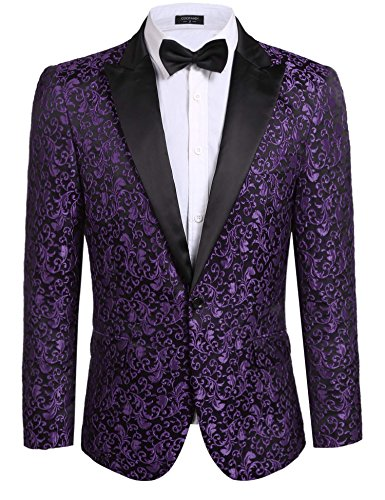 COOFANDY Men's Floral Party Dress Suit Stylish Dinner Jacket Wedding Blazer One Button Tuxdeo, Purple, US XXL(Chest 52.4)