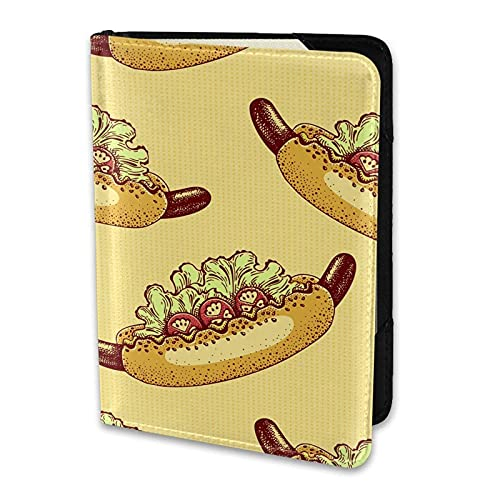 Soporte para Pasaporte American Hot Dog Ensalada de Tomate Tostada Cuero de la PU Cartera de Viaje Estuche para Pasaporte Fundas para Pasaporte 5.5 Pulgadas
