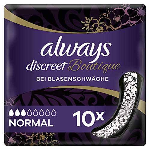 Always Discreet Boutique Inkontinenz-Einlagen Normal (10 Stück) diskreter & sicherer Schutz im femininen Design bei Blasenschwäche mit regelmäßigem Urinverlust, neutralisiert Gerüche