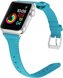 Simpeak Band Compatible with Apple Watch 42mm 44mm, Slim, Genuine Leather Wirstband Replacement for Apple Watch 5 4 (44mm) Series 3 2(42mm), Blue