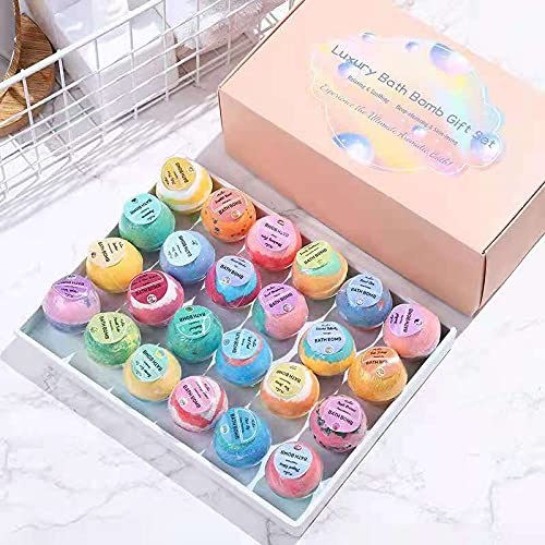 Bath Bombs Spa/Gift Set, 24 Pcs, Foot Bath Bombs, Handmade Organic, Body Stress Relief, Kid Safe, Wonderful Fizzy Effect Gift for Valentine's Day & Any Anniversaries, Best Birthday Gift for Her/Him