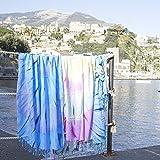 Fancy Home - Toalla de playa Skyros - Celeste abstracto, 90 x 170 cm