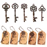 WODEGIFT 50pcs Skeleton Key Bottle Opener Wedding Party Favor Souvenir Gift with Escort Tag and Red copper Chains (Red copper,5 styles)