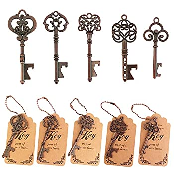WODEGIFT 50pcs Skeleton Key Bottle Opener Wedding Party Favor Souvenir Gift with Escort Tag and Red copper Chains  Red copper,5 styles