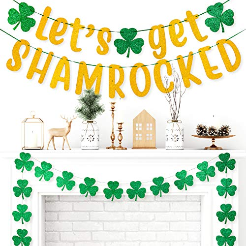 Whaline 3pcs St. Patrick's Day Banner Decoration 7.5 Inch Gold Glittery Let's Get Shamrocked Banner & Glittery Green Shamrock Clover Garland Banner Pre-Assembled Irish Home Party Supplies, 39pcs