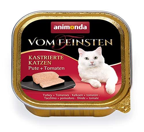 animonda Vom Feinsten Adult Katzenfutter, Nassfutter für ausgewachsene Katzen, kastrierte Katze Pute + Tomate, 32 x 100 g
