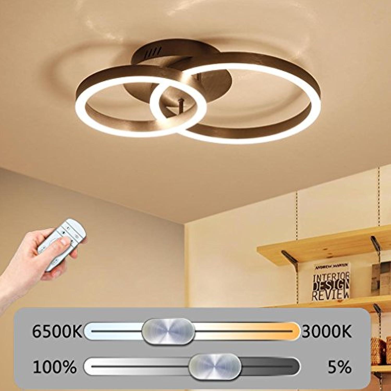 LED Deckenleuchte Modern 2-Ring Design Deckenlampe Kreative Minimalistische Metall Acryl Decke Leuchter Innen Dekor Beleuchtung für Wohnzimmerleuchte Schlafzimmer Fernbedienung Stufenlos Dimmbar 44W