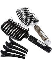 Lictin 2 stuks haarborstels, wildzwijnharen met 4 haarklemmen, borstel voor dun haar, haarborstel voor dames en heren