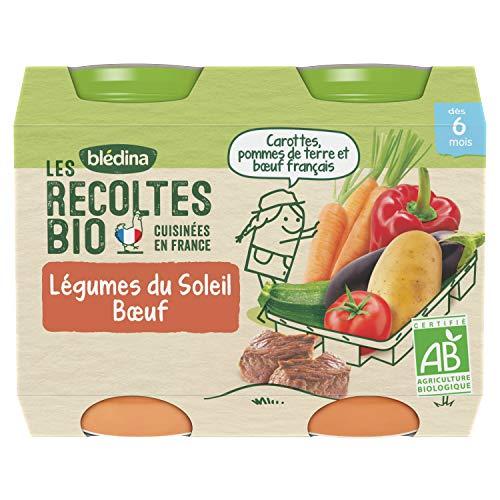 Blédina - Biologique - Les Récoltes Bio12 petits pots Légumes du Soleil Bœuf dès 6 mois (Pack de 6x2 pots)