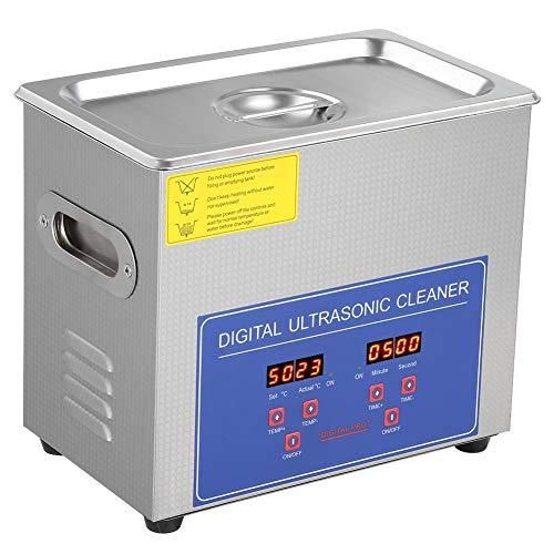 Wakects Limpiador por ultrasonidos 3L, máquina de limpieza por ultrasonidos con pantalla digital de acero inoxidable, para joyas, gafas, monedas, relojes, herramientas domésticas, etc.