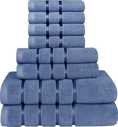 Utopia Towels - Juego de Toallas Azul Eléctrico 8 - Pieza, Toallas de Rayas de Viscosa - 600 gsm Ring Spun de algodón - Toallas de Alta absorción (Paquete de 8)