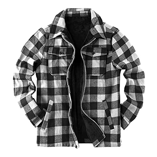 Chaqueta de tela escocesa para hombre, chaqueta de sherpa a cuadros de forro polar forrado de franela abrigo de manga larga con cremallera casual de invierno