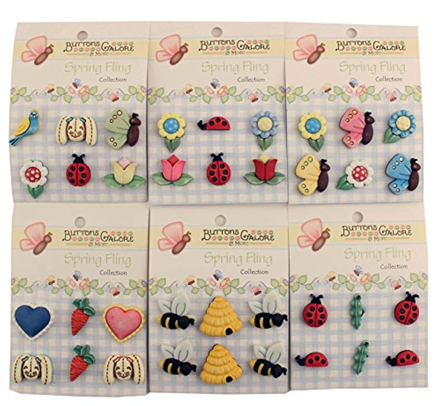 Buttons Galore Spring Fling 3D Buttons-Set of 6 Cards