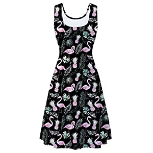 uideazone Women's Sleeveless Scoop Neck Summer Beach Casual Midi A Line Dress
