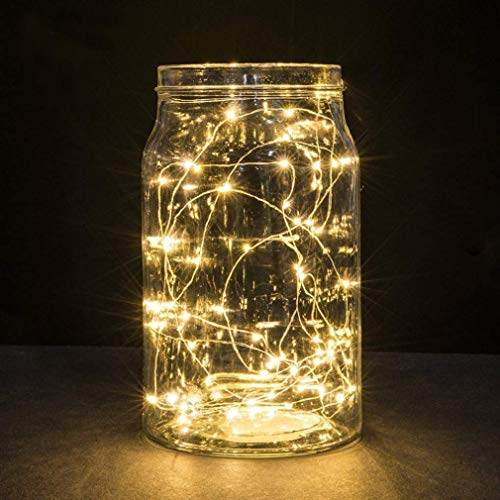 2 Pack Battery 2M 20 LED Silver Wire Fairy String Lights Firefly Lights DIY Decoration for Bedroom Jars Christmas Wedding Party Festival Outdoor Camping - Warm White