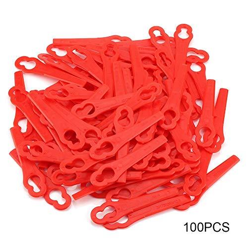 Rasentrimmer-Klingen, 100 STÜCKERot Ersatzmesser Kunststoffmesser mähen Akku-Rasentrimmer für FRT18A FRT18A1 Art 46155 FRT20A1