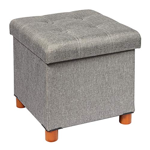 B FSOBEIIALEO Storage Ottoman with Tray Foot Stools and Ottomans with Wooden Feet Storage Cube Seat Linen Grey 15quot