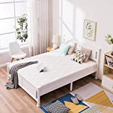 Bonnlo Queen Size Solid Wood Platform Bed Frame, Panel Bed with Headboard, No Box Spring Needed Bed Base, Wood Slat Support Mattress Foundation, White