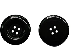 Lyracces Resale Lots Sewing Fasteners Flatback Resin Buttons Wider Edge (38mm 1-1/2In 10pcs, Black)