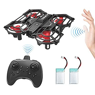 HOMMINI RC Drone, Mini Drone with Altitude Hold and Headless Mode 2.4G 4CH 6 Axis Gyro Pocket Quadcopter with 3D Flips and One Key Fly, One Key Operation, Two Batteries, Good for Child and Beginners