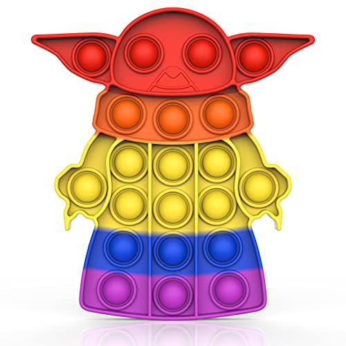 Yefun Fidget Toy Pop it Push it, Regenbogen Farbe Silikon Spielzeug, Ablenkung von Kindern und Erwachsenen von Stress und Fidget (Aliens)