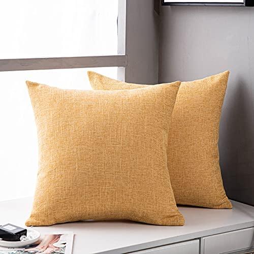 MRBJC Cojín de lino elegante diseño nórdico suave almohada para sofá dormitorio decoración del hogar amarillo 60x60cm