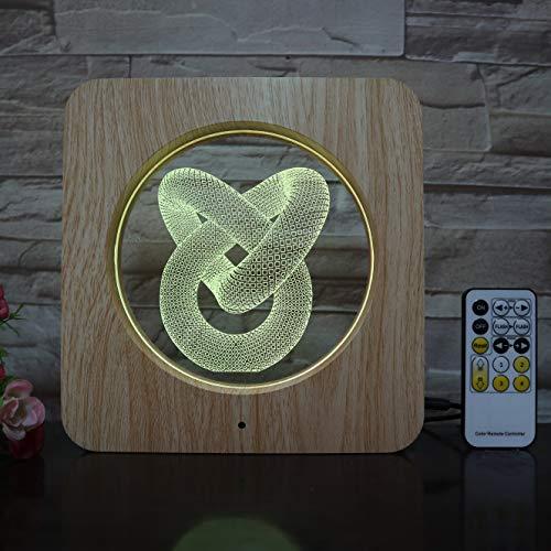 olwonow Amour Noeud Cadre Photo 3D LED Lampe en Plastique ABS Grain Ligne Lampe USB Lampe de Table pour la décoration de la Chambre pour Le Jour de Vacances Cadeau
