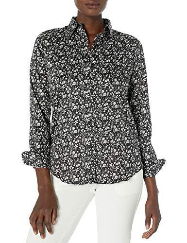 Chaps Women's Long Sleeve Non Iron Cotton Sateen-Shirt, Black/Cream, M
