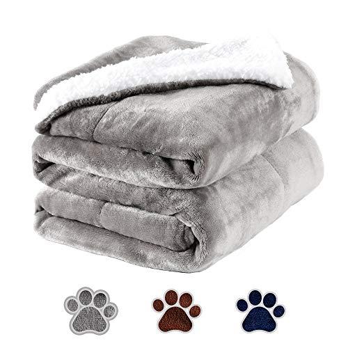 HAPPY HACHI Wasserdicht Hundedecke Weiche Fleecedecke Decken für Hunde Katzen, 150x127cm Waschbare Hundematte Premium Flanell Haustier Warme Hundebett Matte Wendedecke Liegedecke Kuscheldecke (Grau)