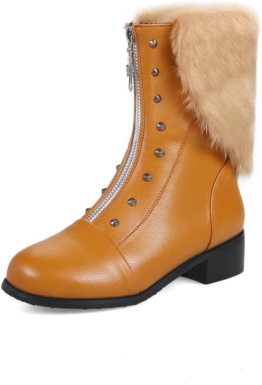 BalaMasa Womens Mid-Calf Studded Fringe Zip Urethane Boots ABL10547