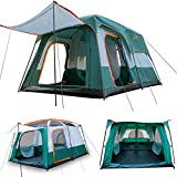 KTT Large Tent 8~10 Person,Family Cabin Tents,2 Rooms,Straight Wall,3 Doors and 3 Windows with Mesh,Waterproof,Double...