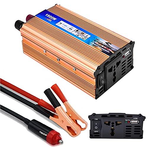 Inverter 12V 220V, LACYIE 650W 1500W(Picco) Trasformatore Power Inverter di Potenza, Convertitore con 1 Presa AC, 1 Porte USB 2.1A, Adattatore Accendisigari e Pinze per Auto Camion Camper