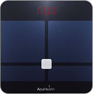 AcuHealth Body Fat Scale and Fitness Analyzer - Your Personal Health Monitor with Bluetooth Connectivity with iOS & Android Smartphone and Tablet Devices Analyzes 10 Heath Parameters (Black)