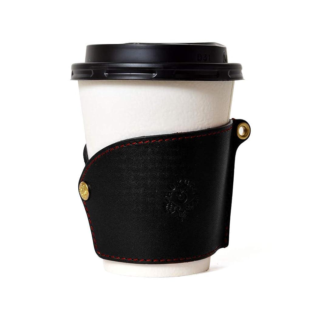 特に思春期志す【HUKURO】ぴたっとはまるカップスリーブ 栃木レザー 本革 コーヒースリーブ S/M/Lサイズ兼用 (ブラック)