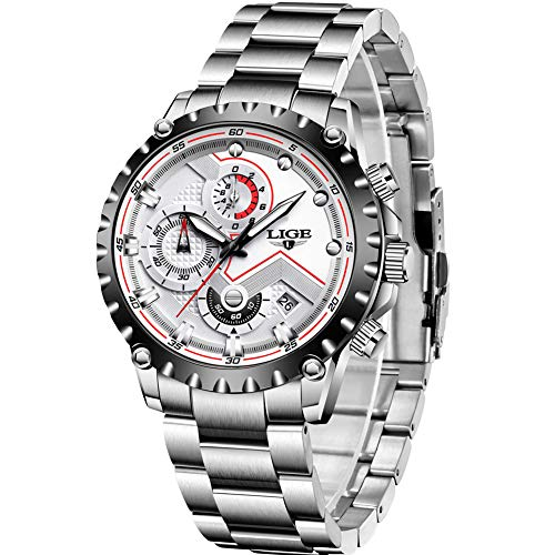 LIGE Uhren Herren Edelstahl Wasserdicht 30M Sport Analog Quarz Uhren Herren Datum Mode Blau Klassische Armbanduhr Herren
