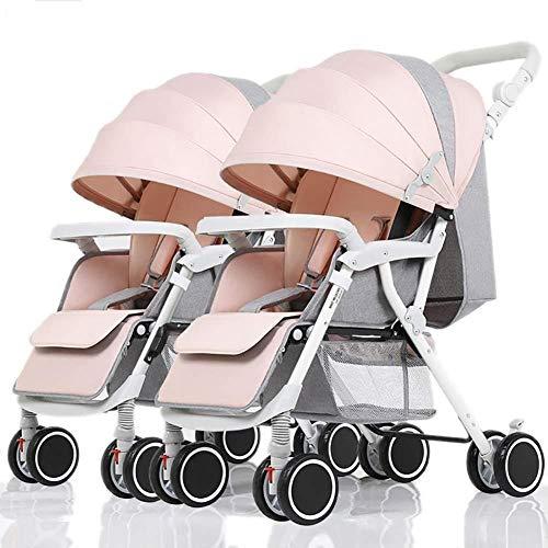 Poppenwagen Twin kinderwagen afneembare opvouwbare lichte verende vork Newborn Trolley babyartikel roze