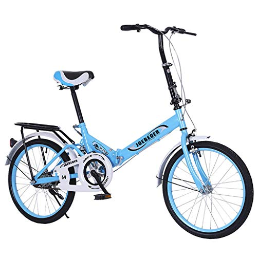 Adult Students Bike Folding Bike 20in Adult Students Steel V Brake Full Suspension MTB 7-Speed Premium Alloy Wheels Ultra-Light Portable Women's City Mountain Cycling Leisure Pedal Bicycle (Blue)