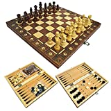 MoneRffi 3 in 1 Magnetic Wooden Chess Set Large Size Board Game Folding Checkers Travel Chess Set and Draughts for Adult, Kids 11.4 * 11.4 in (29 * 29cm)