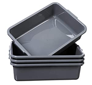 Grey Commercial Bus Tubs Box/Tote Box 4 Pack, Stackable Plastic Utility 13 Liter Storage Bin with Handles, Dish Wash Basin Tub Pans