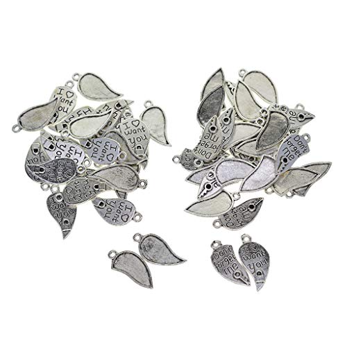 B Baosity 60 Pieces Lovers Necklace, Heart Charms Pendants for DIY Jewelry Making