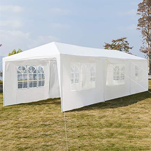 Moskado Large Garden Gazebo, Waterproof Tent, with Spiral Tubes, Sides 3m x 9m, Waterproof, Premium Gazebo With 7 SideWalls for Outdoor Wedding Garden Party