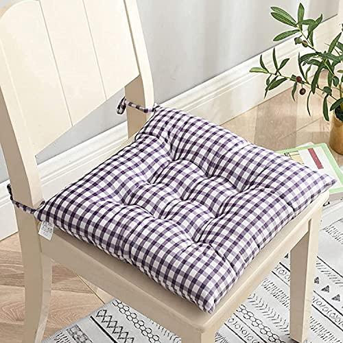 JY&WIN Cojín para silla de celosía en blanco y negro, juego de 4 cojines de terciopelo de cristal con cordones, cojines de asiento suaves y gruesos para interior de la silla para la oficina y el hogar