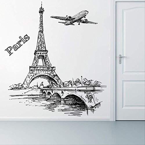 Muurstickers Romantische Toren Parijs Vliegtuigen Decoratieve Woonkamer Slaapkamer Decoraties PVC muurschildering Muur Art DIY Posters