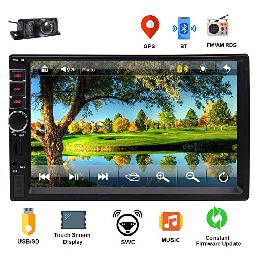 EINCAR Car GPS Navigation Stereo Double 2 Din Head Unit Bluetooth 7 inch LCD Touch Screen Support FM Radio/GPS Navigation/Steering Wheel Control Free Backup Camera